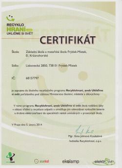 Recyklohraní - certifikát