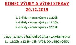 KONEC VÝUKY A VÝDEJ STRAVY 20.12.2019