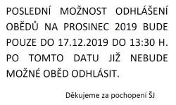 ODHLÁŠKY PROSINEC 2019