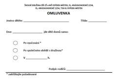 ŠD - OMLUVENKA